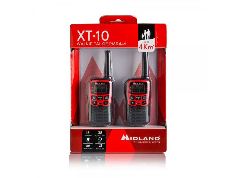 Midland XT10 Ζεύγος φορητών ασύρματων πομποδεκτών με 16 κανάλια