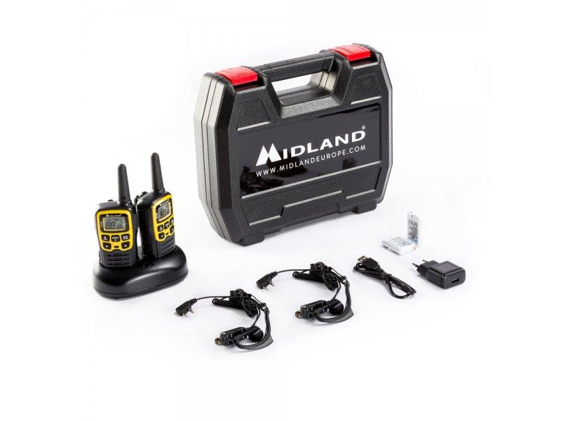 Midland XT50 Adventure Ζεύγος φορήτων ασύρματων επανφορτιζόμενων πομπδεκτών με 24 κανάλια και μικροακουστικά σιλικόνης