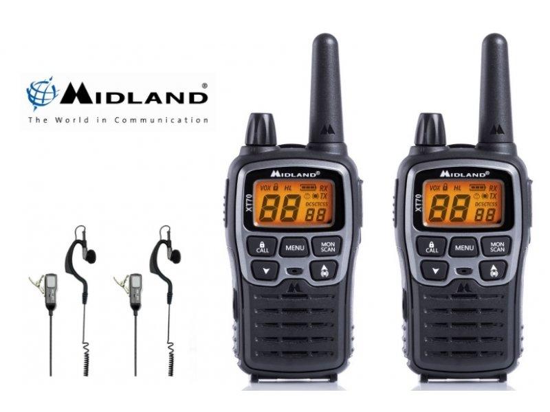 Midland XT70 Ζεύγος φορητών ασύρματων επαναφορτιζόμενων πομποδεκτών με 93 Κανάλια και μικροακουστικά σιλικόνης